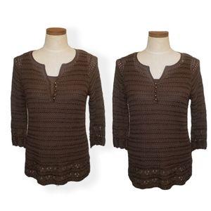 Emma James Brown Crochet Tunic Top Large Petite